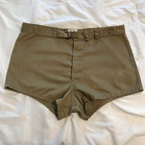 Vintage button fly swimmer trunks with belt